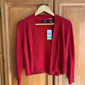 Women's VERVE ami NWT Large Red Cropped Cardigan